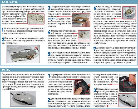 очистка клавиатуры и мыши